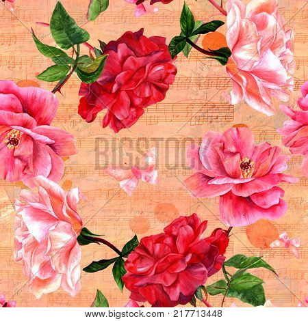 Seamless pattern with watercolor drawings of pink and red roses and butterflies, hand painted in the style of vintage botanical art, on the background of old ephemera, faded notes and sheet music