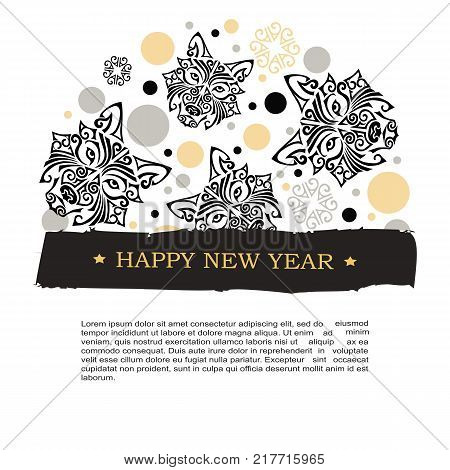 2018 New Year card with husky dog's or wolf head stylized Maori face tattoo. Template for invitation, fashion shop, tattoo studio, oriental concept. Postcard motive. Dog is symbol of 2018 year.