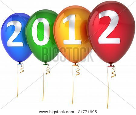 New 2012 Year balloons multicolor with silver text