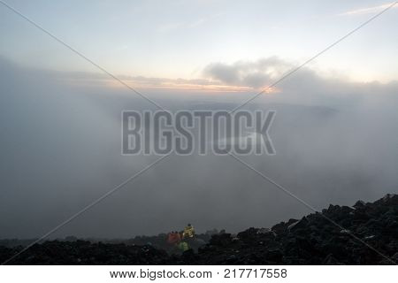 View from Mount Fuji climbing in the mist by yamanaka lake