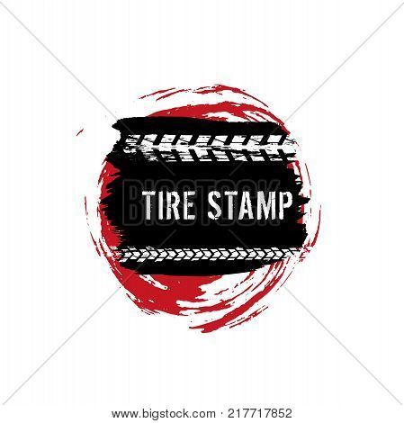Grunge off-road post and quality stamp. Automotive element useful for banner, sign, logo, icon, label and badge design . Tire tracks textured vector illustration isolated on white background.