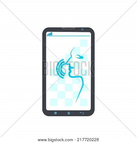 Cell Smart Phone Recording Voice Modern Identification Control System Concept Flat Vector Illustration