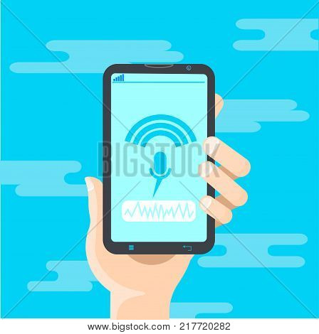 Hand Hold Cell Smart Phone Recording Voice Modern Identification Control System Concept Flat Vector Illustration