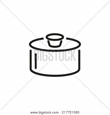 Line icon of cooking pan. Saucepan, cooking, meal. Kitchenware concept. Can be used for topics like dinner, kitchen, housework