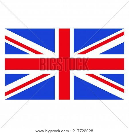 Rectangular vector flag of Great Britain. State symbol of United Kingdom. Objects isolated on white background.