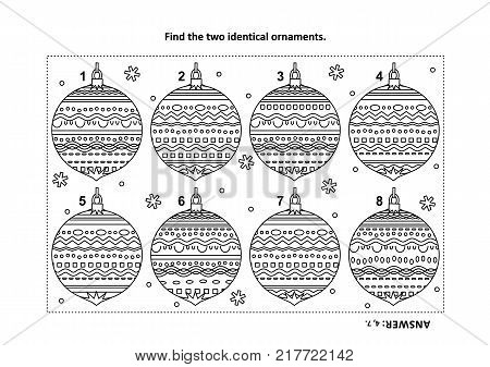 Winter holidays, New Year or Christmas themed find the two identical ornaments visual puzzle and coloring page. Answer included.