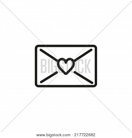Line icon of letter sealed with heart. Love message, greeting card, Valentine Day. Love concept. Can be used for topics like celebration, feelings, relations