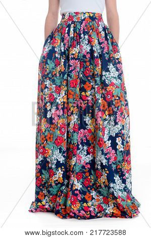 lady wearing long dress. The Beautiful young woman in long skirt