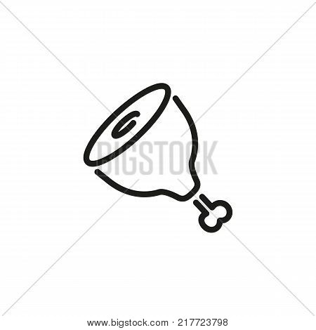Line icon of pork gammon on bone. Mutton, lamb, meat store. Food concept. Can be used for topics like meal, cooking, supermarket