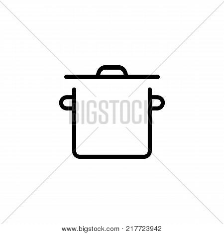 Line icon of saucepan. Soup, cooking, meal. Kitchenware concept. Can be used for topics like dinner, kitchen, housework