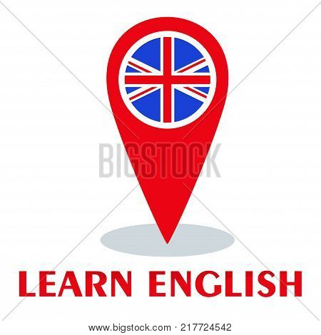 Bright flat vector banners with pin for English language learning. Courses of foreign language, schools for studying British pronunciation. Information for site, social network, poster and flyer.