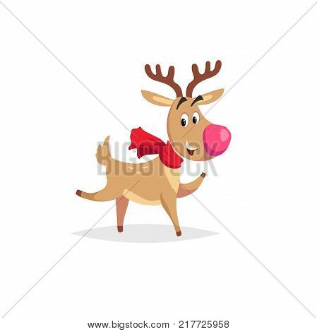 Cartoon dancing or running reindeer with scarf and big red nose. Vector Christmas illustration for greeting card and invitations.