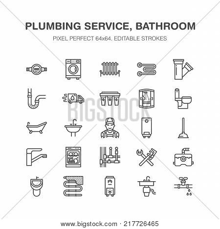 Plumbing service vector flat line icons. House bathroom equipment, faucet, toilet, pipeline, washing machine, dishwasher. Plumber repair illustration, signs for handyman services. Pixel perfect 64x64.