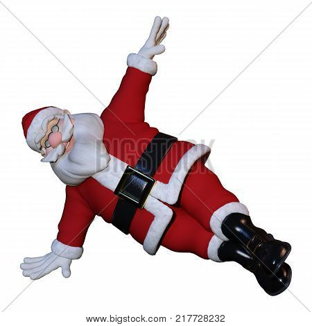 3D Rendering Santa Exercising On White