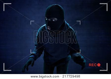 Masked thief caught on hidden security cameras poster
