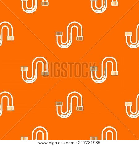 Clog in the pipe pattern repeat seamless in orange color for any design. Vector geometric illustration