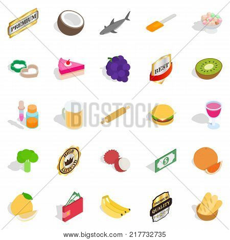 Chief cooker icons set. Isometric set of 25 chief cooker vector icons for web isolated on white background