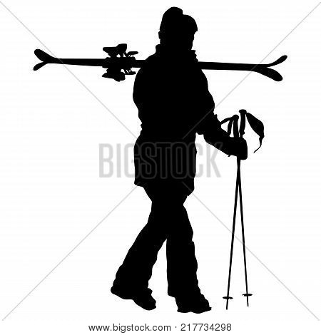 Mountain skier speeding down slope. Vector sport silhouette.