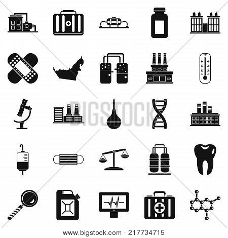 Chemical industry icons set. Simple set of 25 chemical industry vector icons for web isolated on white background