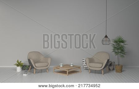 armchair in living room interior design 3D illustration and clean wall simple furniture set.