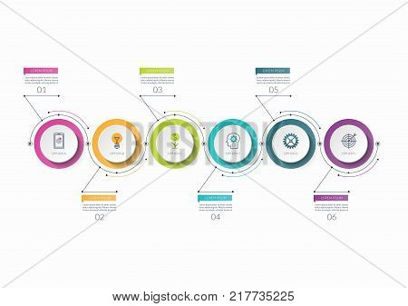 Infographic timeline template with 6 options. Can be used as a chart, diagram, graph for business presentation, annual report, brochure, web design.