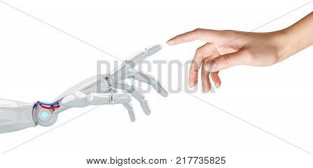 Human hand touching an android hand. Isolated on white. Contact human and technology concept.3d rendering.