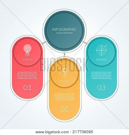 Vector template for infographics. 3 options, steps, parts. Can be used as a process chart, workflow layout, diagram, info graph, data visualization, annual report, timeline, minimalistic web banner.