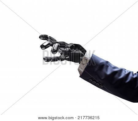 Robotic hand in business suit point on something. Bionic technology concept. 3d rendering