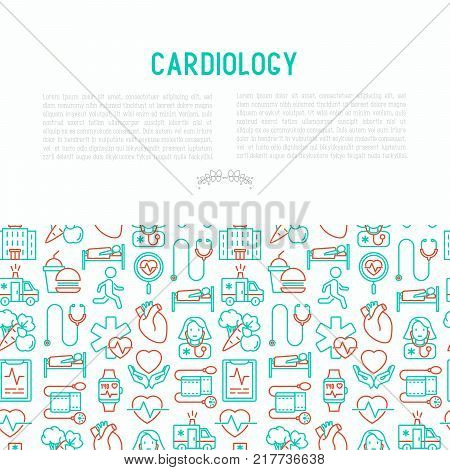 Cardiology concept with thin line icons set: cardiologist, stethoscope, hospital, pulsometer, cardiogram, heartbeat. Modern vector illustration for banner, web page, print media.