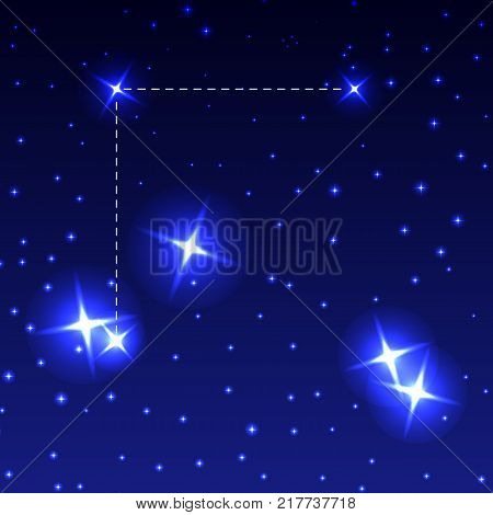 The Constellation Coma Berenices in the night starry sky. Vector illustration of the concept of astronomy