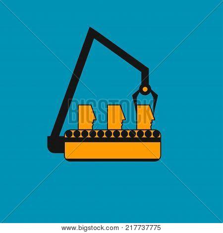 Concept of management, standardization of people. Human heads on line. Corporate culture, dress code. Robots, robotics. Vector illustration.