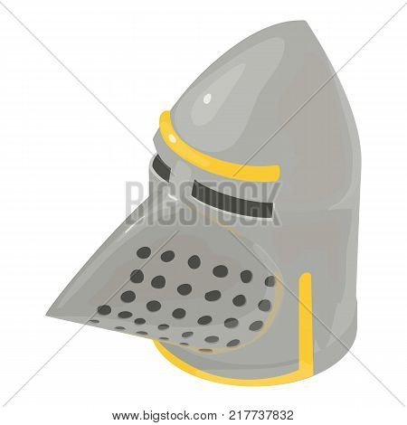 Helmet knight old icon. Isometric illustration of helmet knight old vector icon for web