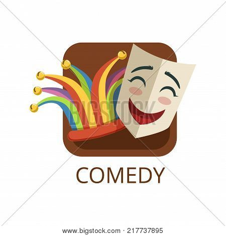 Comedy cinema or theatre genre, cinematography, movie production vector Illustration on a white background
