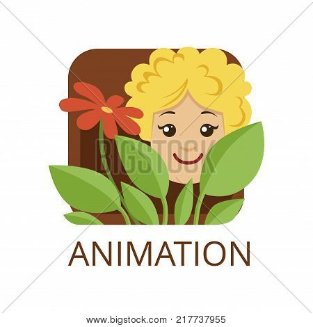Animation cinema genre, symbol for cinema or channel, cinematography, movie production vector Illustration on a white background