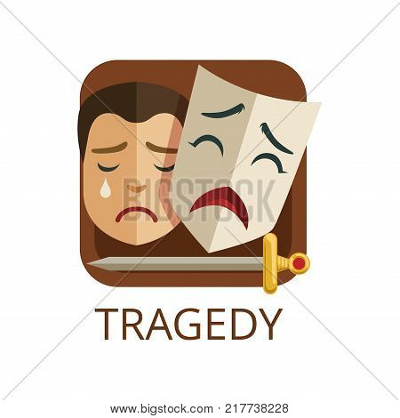 Tragedy cinema or theatre genre, cinematography, movie production vector Illustration on a white background