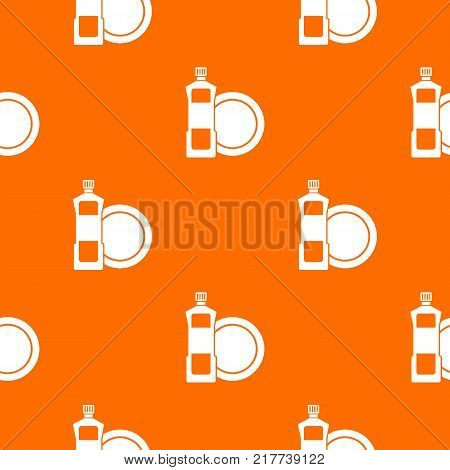 Dishwashing liquid detergent and dish pattern repeat seamless in orange color for any design. Vector geometric illustration