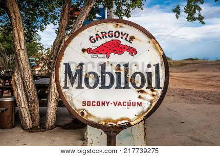 HACKBERRY, ARIZONA, USA - MAY 19, 2016 : Rusty Mobiloil sign  on historic Route 66 in Arizona