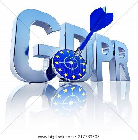 3D rendering of a GDPR symbol with a target