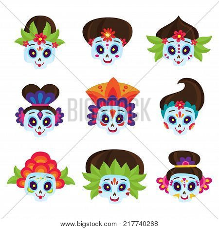 Vector set with colorful skulls for day of the dead isolated on white. Sugar skulls for mexican day of the dead. Cute skulls and flowers in a cartoon style. Halloween skulls.