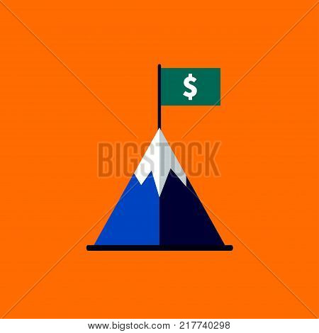 Flag with dollar sign on top of mountain. Achievements in business. Career growth. Icon profit. Business concept. Stock vector