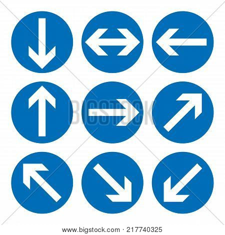 Set of direction signs. Blue circle mandatory informational symbols. Vector illustration isolated on white. White simple arrows. Notice icons. Collection arrows in different directions
