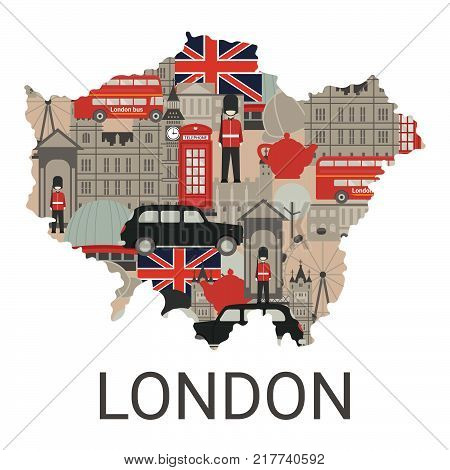 Map of London city with architecture illustration. London travel concept with traditional symbols of architecture. Tourism background.