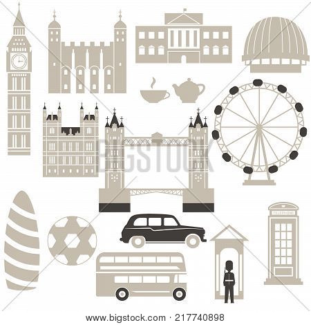 London architecture illustration. Collection of London attractions isolated on white.