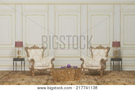 Classic furniture set luxurious interior and gold lamp in the living room and coffee table in gold color clean white wall 3D rendering