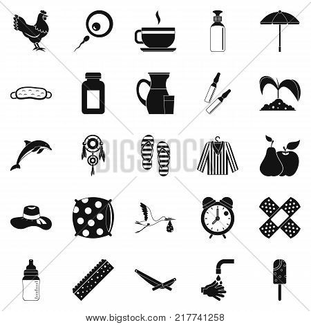 Kid viability icons set. Simple set of 25 kid viability vector icons for web isolated on white background