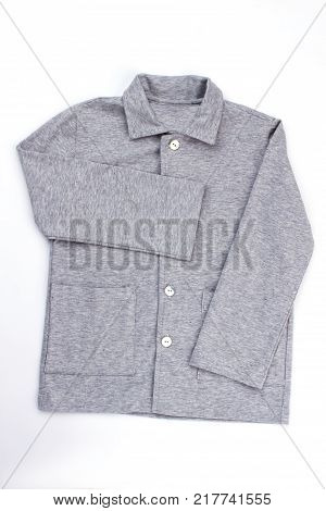 Gray melange shirt on white. Good looking, warm and comfy for sleeping. Boys pajama top with pockets.