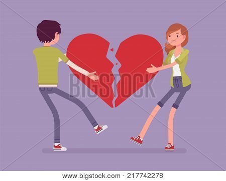 Lovers broken heart. Young man, woman pulled apart causing each other feel great sorrow, couple in disagreement at end of friendly relations after angry dispute. Vector flat style cartoon illustration