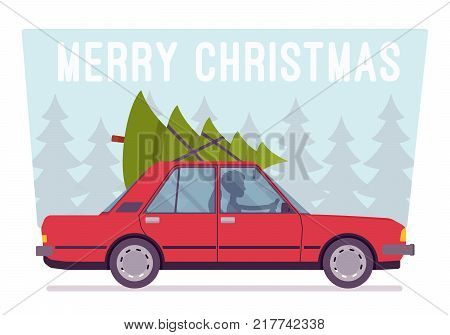 Merry Christmas Tree Vector Photo Free Trial Bigstock