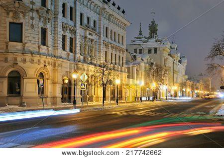Kazan, Tatarstan, Russia - December 10, 2017. Kremlyovskaya Street, Aleksandrovsky passage, Chernoyarovsky passage.