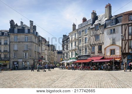 Poitiers Nouvelle-Aquitaine France - July 03 2012: Poitiers street with architectural buildings on a summer day
